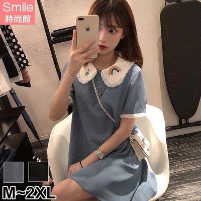 【V3087】SMILE-甜美清新.刺繡娃娃領短袖連身裙