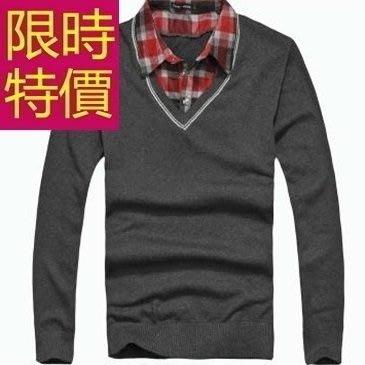 長袖毛衣精緻簡單-隨意舒適假兩件式男襯衫 3色59ac9[韓國進口][米蘭精品]