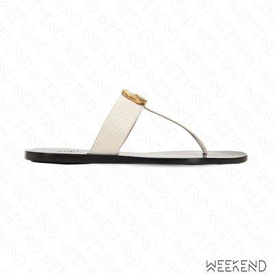 【WEEKEND】 GUCCI Thong Sandal 皮革 夾腳 拖鞋 涼鞋 白色 497444