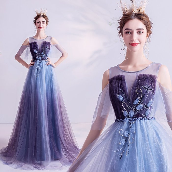 妞妞 婚紗禮服~璀璨星河 蓝色法式生日派對宴會婚纱長禮服~3件免郵