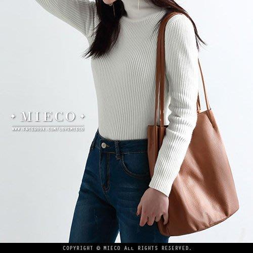 【Mieco】頭層牛皮 雙帶設計簡約側背真皮購物包托特包水桶包。三色
