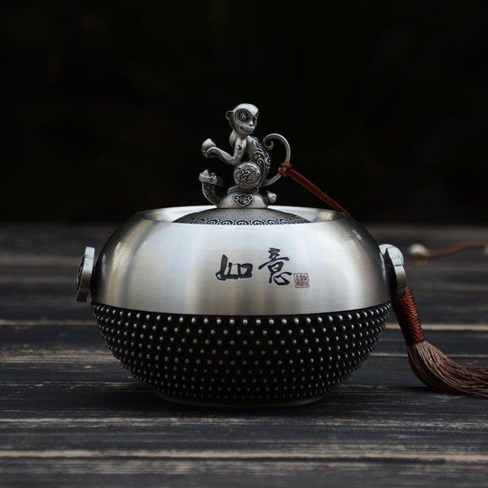 5C精選@茶葉罐 錫罐 如意金猴 純錫茶葉罐 密封罐