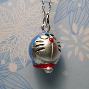 琥珀貓銀飾DIY【925純銀飾品】墜飾~A0042~多啦A夢~一個