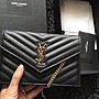 YSL SAINT LAURENT PARIS 小款WOC 黑色金釦...