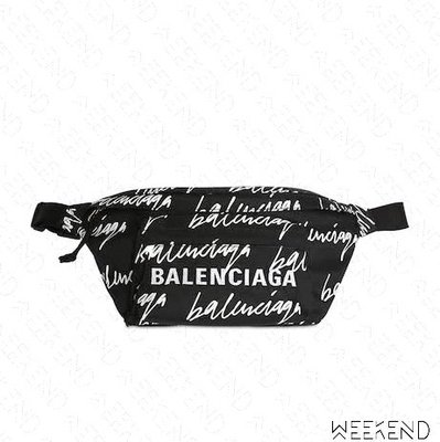 【WEEKEND】 BALENCIAGA Scribble Logo 巴黎世家 尼龍 胸口包 腰包 黑色 20秋冬