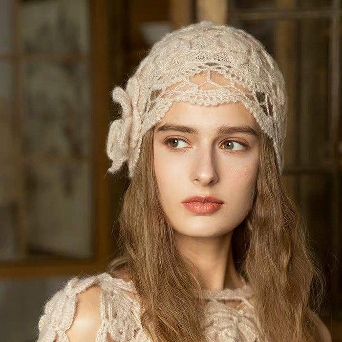 HAT 手工編織復古宮廷風毛線立體花朵鏤空針織帽 毛線帽