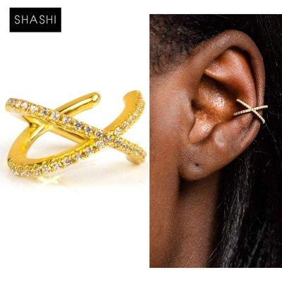 SHASHI 紐約品牌 Stacey Pave Ear Cuff 鑲鑽十字架C型耳骨夾 無耳洞女孩必備