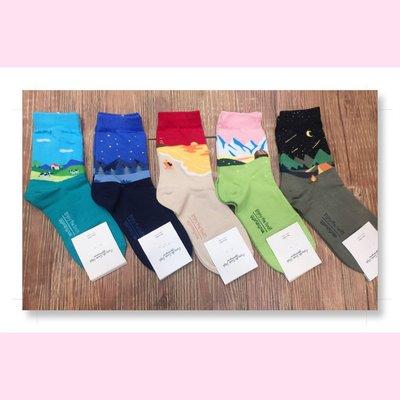 韓國直送 時尚名畫造型女襪子 時尚 正韓 短襪 腳踝造型襪 運動襪 學生襪 棉襪 1/2襪