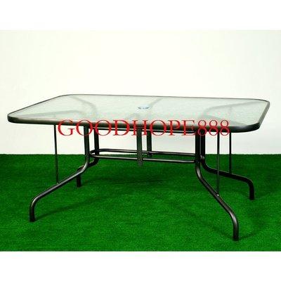 [自然傢俱坊]-樂活-鋁合金玻璃方桌(有傘孔)- SH-8A47100 (規格152x98x70cm)