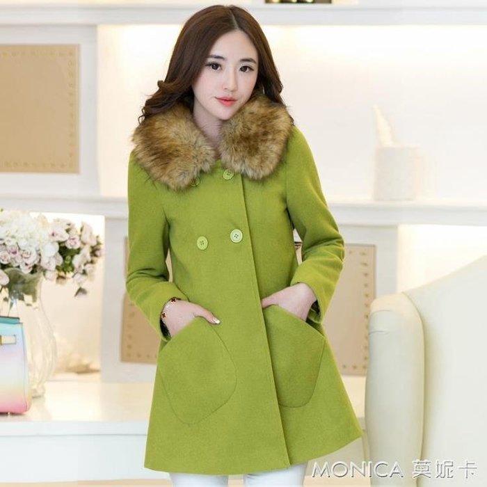 毛呢外套女中長款韓版秋冬裝新款毛領斗篷呢子大衣女加棉加厚
