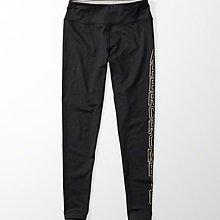 Maple麋鹿小舖 Abercrombie&Fitch * AF 黑色燙印字母貼身運動褲 * ( 現貨S號 )