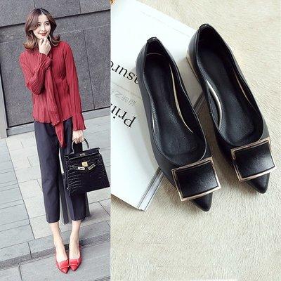紅色單鞋女 春季尖頭平底鞋真皮黑色小皮鞋淺口四季鞋平跟瓢鞋