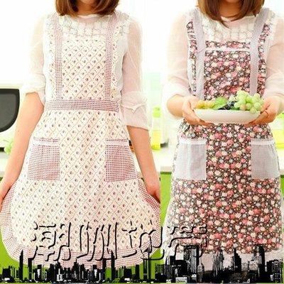 圍裙韓版時尚可愛廚房加厚工作服防水防油做飯罩衣成人反穿衣護衣
