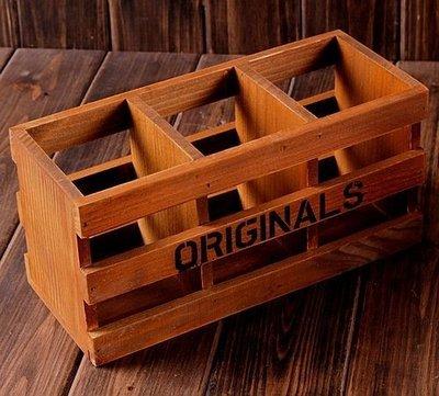 雜貨精品 歐美鄉村風懷舊復古欄杆造型收納3格木盒 裝飾桌面小物整理三格箱盒 木製佈置物盒 擺飾禮物 客廳餐廳質感文具筆筒