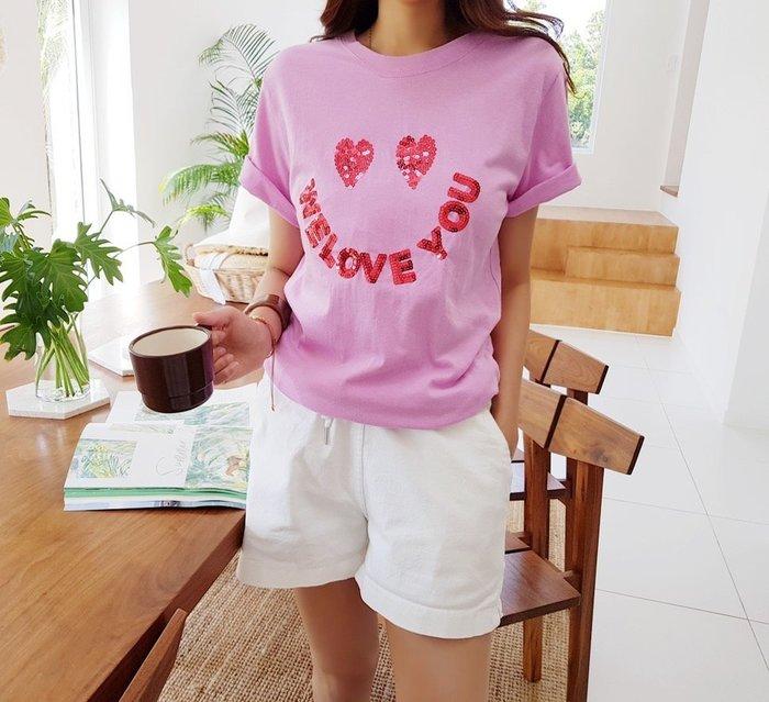 美麗喵。現貨。正韓 可愛愛心眼睛 WELOVEYOU 亮片設計 短袖棉質T恤上衣(粉色、黑色)