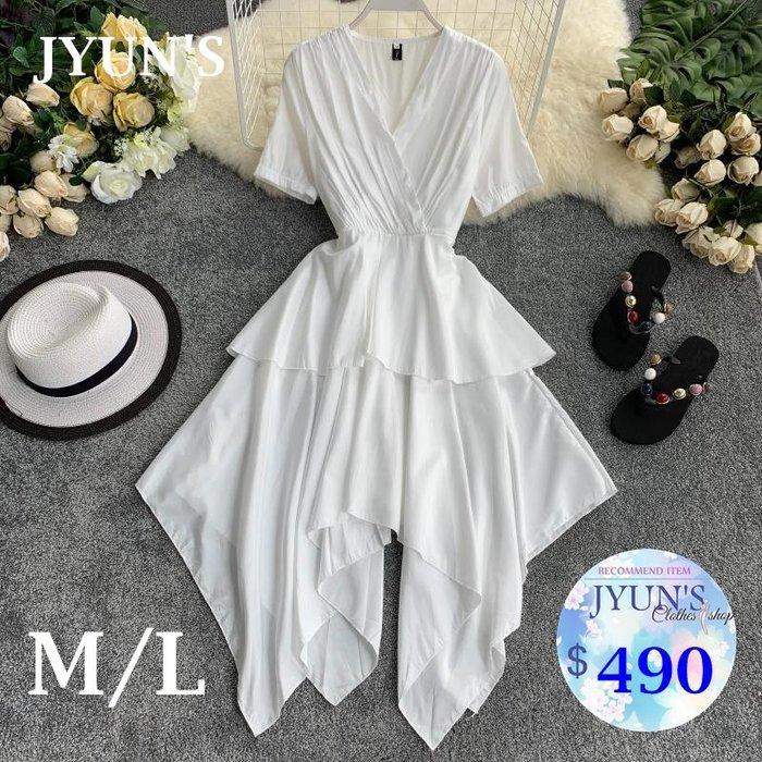 JYUN'S  春夏新款法國小眾桔純色簡約V領短袖顯瘦不規則下擺荷葉邊蛋糕裙連衣裙短袖洋裝 5色 預購