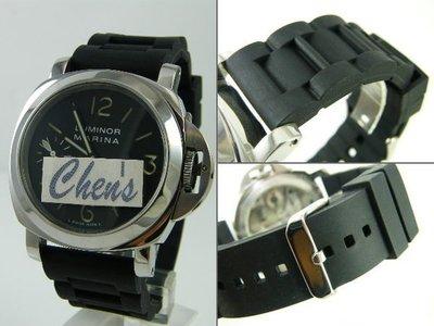 【錶帶家】『嚴選』代用Panerai錶帶 沛納海 BALL ORIS 進口高級三版鋼帶款矽膠錶帶(有22mm24mm)
