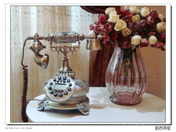 凱西美屋 英倫浮雕玫瑰復古電話 古董電話 新古典風 鄉村風 下殺特價