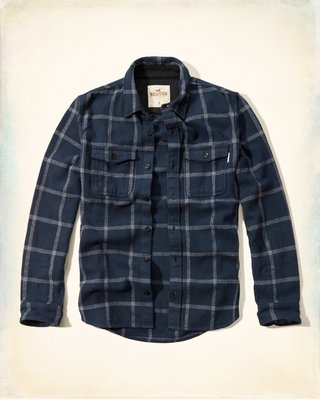 Hollister Textured Flannel Shirt-Jacket 重磅 格紋襯衫 Abercrombie