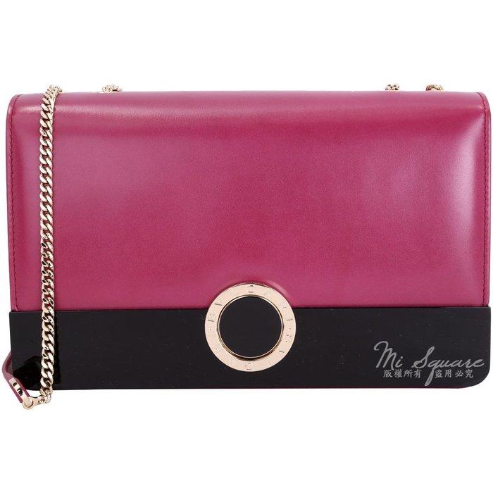 米蘭廣場 BVLGARI BVLGARI 拼接琺瑯磁釦小牛皮鍊帶肩背包(紫紅色) 1710786-87