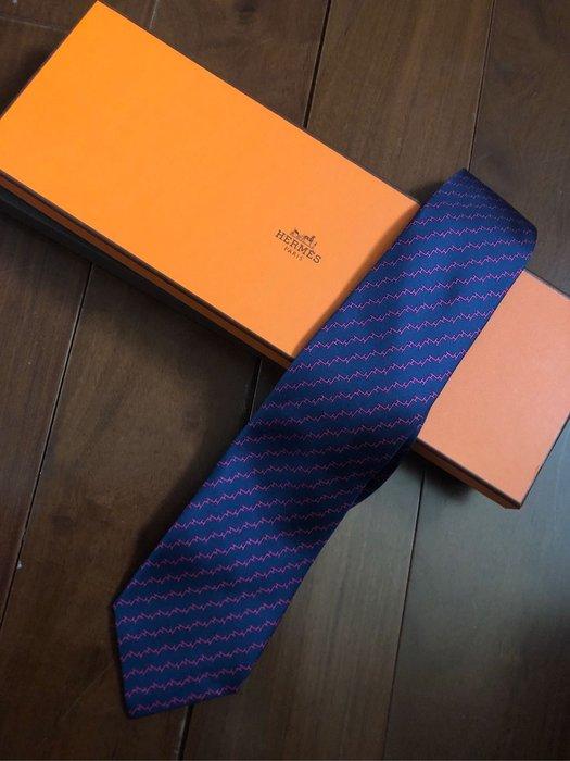 全新 Hermes 領帶 法國製 100%絲質