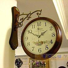 368 華城小鋪** 鄉村 時鐘 靜音 北歐 田園 造型 民宿 歐式 美式 掛鐘 精品素面實木雙面鐘