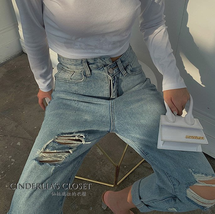 《仙杜瑞拉的衣櫃》p0383 不規則褲頭設計 寬鬆版修飾腿型直筒牛仔褲