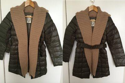 MISS TOUR~全新巧克力色SALAD羽絨長版外套,70%羊毛,70%羽絨,原價HKD2500,萬元台幣