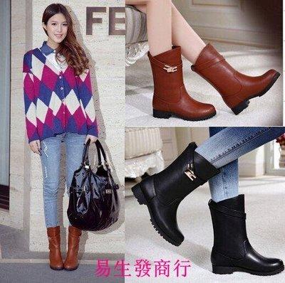 【易生發商行】秋冬歐美平底女靴時尚低跟中筒靴潮女士靴41大碼騎士女F6294