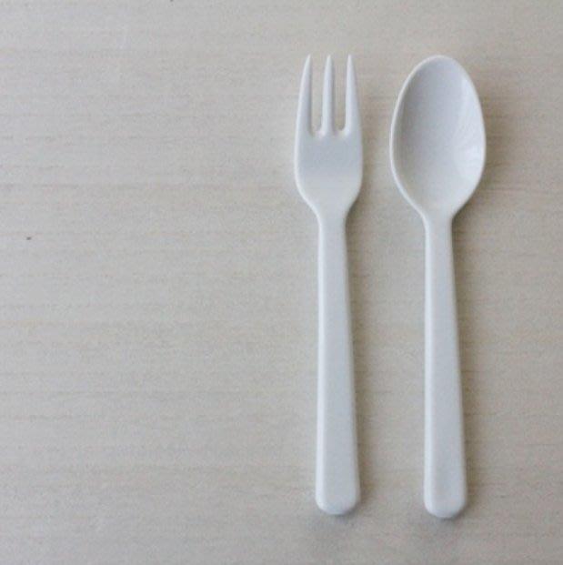 STUDIO M 白色陶瓷湯匙叉子組