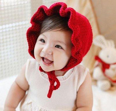 【小阿霏】寶寶純色護耳帽可愛保暖毛線帽...