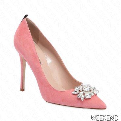 【WEEKEND】 Sarah Jessica Parker SJP Tavi 麂皮 鑲鑽 高跟鞋 粉色