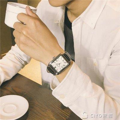 手錶男學生快手網紅潮流大氣方形復古皮帶休閒氣質男錶--大城小鋪