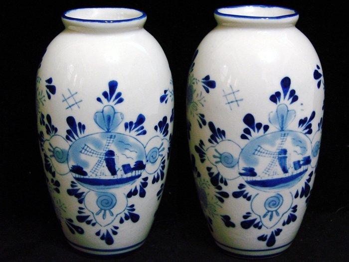 ➷➷大降➷ 80一元起標 *·.珍貴 荷蘭國寶骨瓷.·DELFT Holland【全手工 鈷藍 手繪 花瓶】A29°玩古