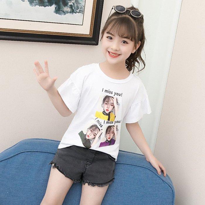 日韓歐美♥夏季 韓版女童 甜美人物圖案  喇叭袖 造型 百搭款上衣 外出休閒款棉質T 【E901】