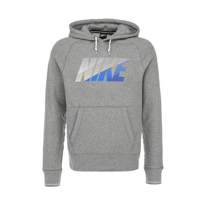 美國百分百【全新真品】Nike 連帽 T恤 長袖 帽T 耐吉 上衣 運動 男 漸層 LOGO 灰色 M號 H605