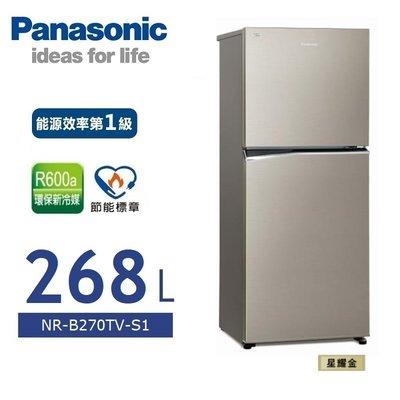 【內文有優惠】Panasonic 國際牌【NR-B270TV-S1】268公升 變頻 雙門 電冰箱