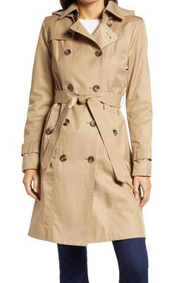 Double Breasted Trench Coat With Removable Hood LONDON FOG