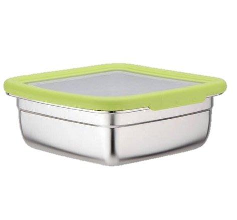 鵝頭牌不鏽鋼保鮮盒(綠色)SUS304不鏽鋼方形密封保鮮盒1400ML CI-1400BA 通過SGS認證