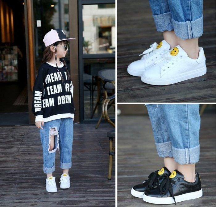 【小阿霏】兒童小白鞋運動鞋 微笑板鞋休閒鞋 中大童男童女童韓風時尚個性鞋子 可加絨SH43