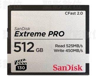 Sandisk Extreme Pro Cfast 2.0 512Gb  525MB/s CF 512G 公司貨