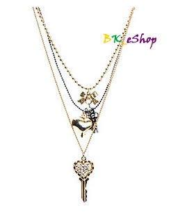 【美衣大鋪】☆ Betsey Johnson 正品☆ 3 Row Key & Heart 蝴蝶結心型項鍊~現貨在台