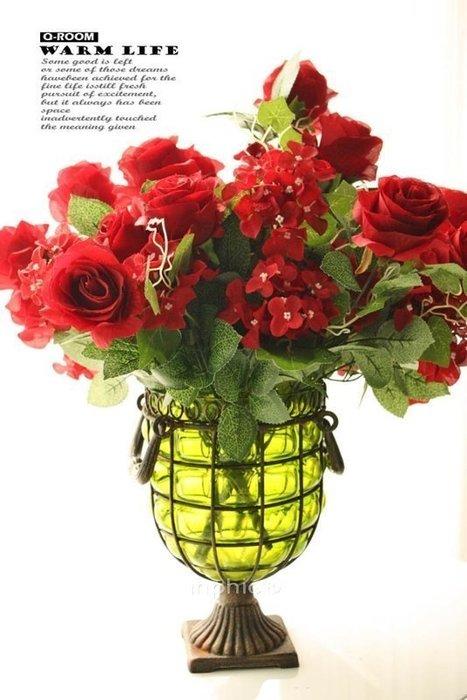 INPHIC-菲羅麗鑄鐵透明綠色玻璃花瓶 歐式田園風格