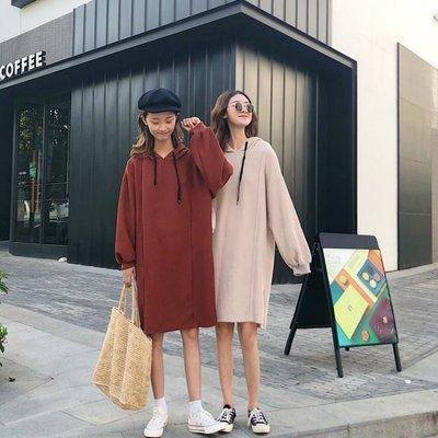 漂亮小媽咪 韓國洋裝 【D7382】 寬鬆 中大尺碼 長袖 連帽連衣裙 孕婦裝洋裝