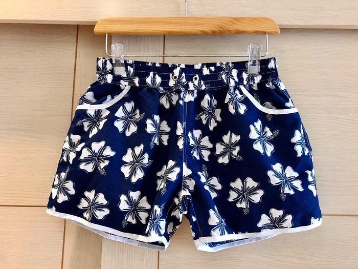 鬆緊腰花朶短褲/熱褲/休閒短褲/沙灘短褲(藍色)