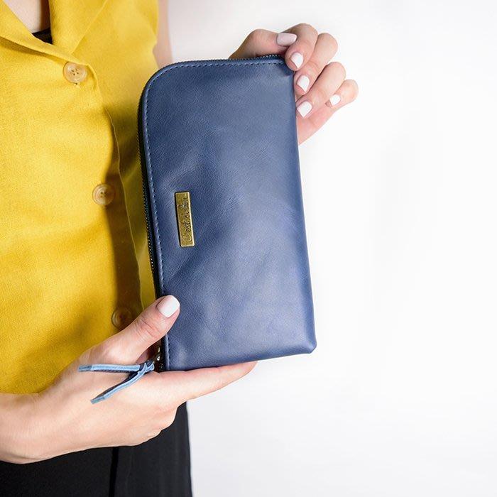 C'est Si Bon|【現貨。免運】進口真皮L型拉鍊長夾-懷舊藍 禮品 盒裝