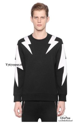 【ChicPop】NEIL BARRETT BOLTS NEOPRENE 衛衣 黑底+白
