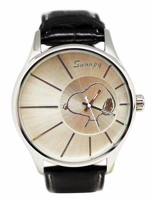 【卡漫迷】 Snoopy 大錶框 手錶 銀色 ㊣版 史努比 史奴比 皮革 男錶 女錶 中性錶 原價六折出清