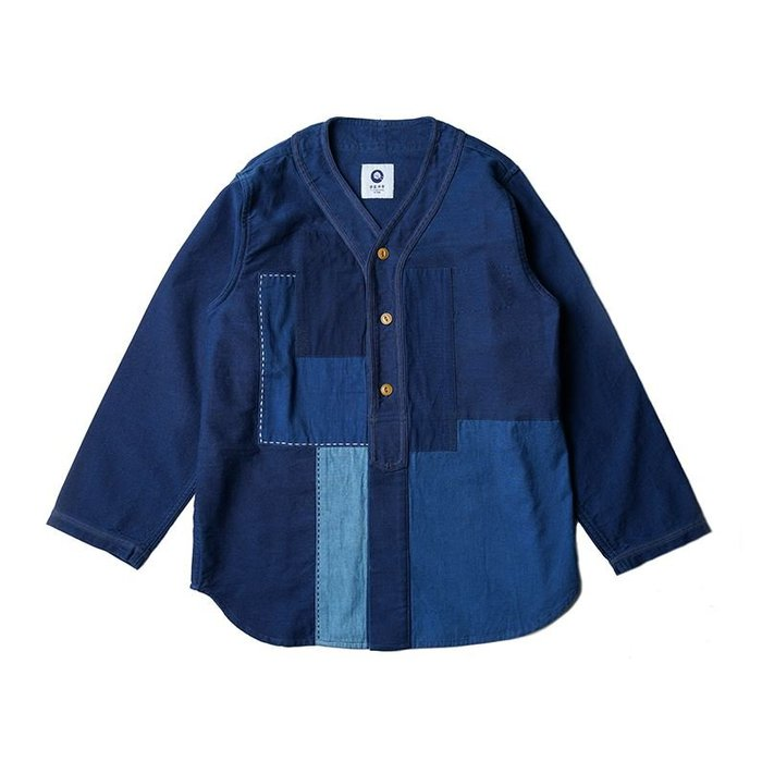 【NoComment】日系藍染風格 時尚質感簡約拚揭開襟棒球襯衫 VISVIM Gucci