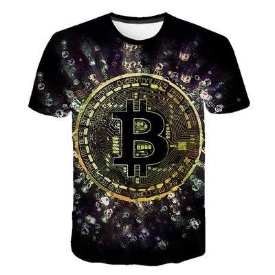 【英爵倫】新款2020男裝 比特幣(Bitcoin) 3D男士印花短袖T恤情侶款男女短袖T恤 潮T 卡通T恤 印花短T